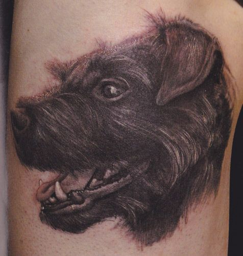 profile of dog tattoo